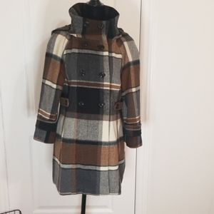 ZARA plaid hooded half button double breasted coat